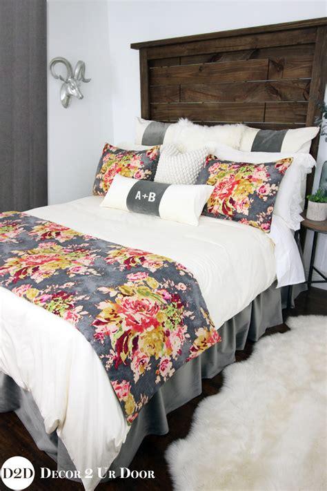 designer bedding for grey velvet multicolor floral custom designer bedding
