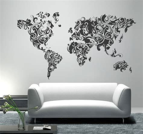 world map home decor world map tribal floral vinyl home decor