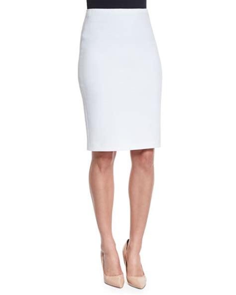 jersey knit pencil skirt armani collezioni ribbed jersey knit pencil skirt white
