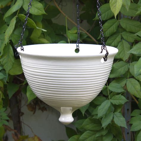 white hanging planter ceramic hanging planter large modern white pottery hanging