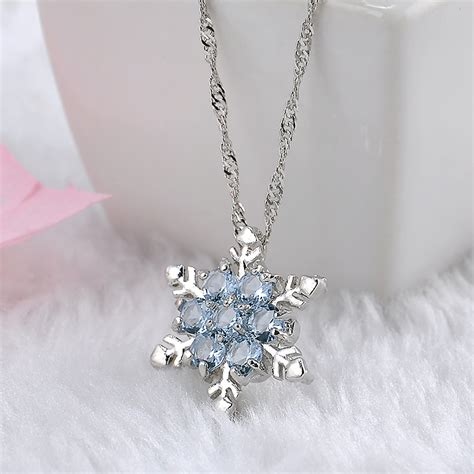silver for jewelry charm vintage blue snowflake zircon flower