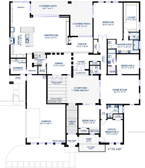 floor plans with courtyard modern courtyard house plan 61custom contemporary modern house plans