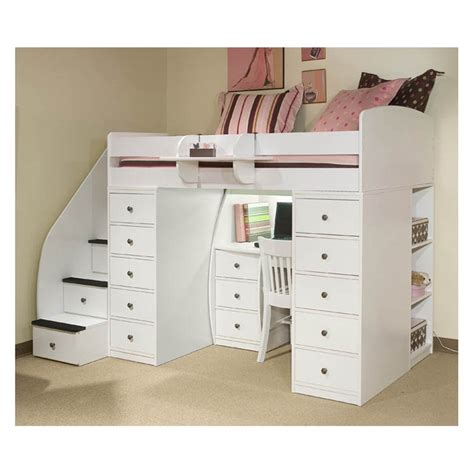 loft beds with desk and stairs spacesaver loft with desk 2 chests stairway at
