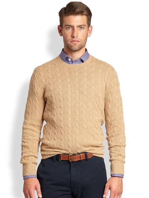 cable knit sweater mens polo ralph cable knit crewneck sweater in