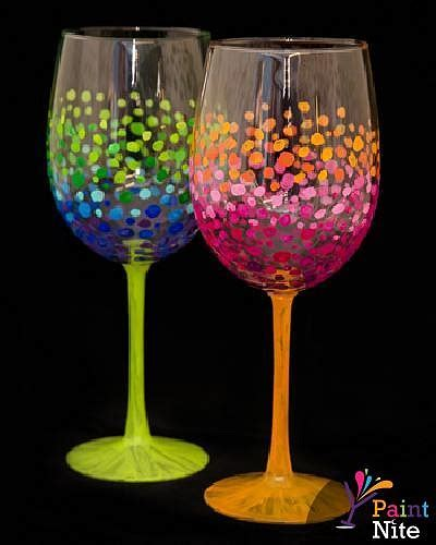 paint nite wine glasses paint nite colorful circles wine glasses