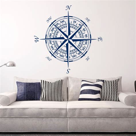 nautical wall stickers compass wall decal vinyl stickers nautical decor nautical