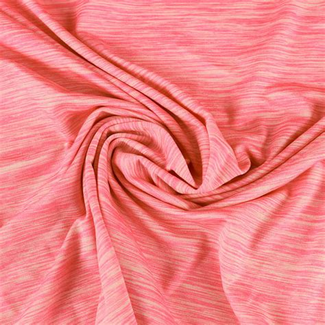 coral knit fabric coral space dye poly spandex performance knit fabric for