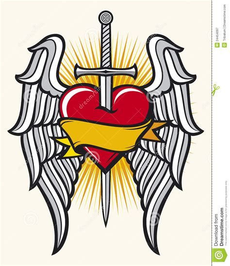 heart sword and wings stock vector image of artistic