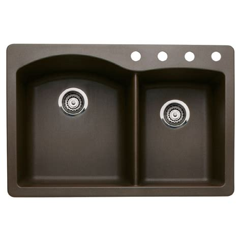 kitchen sinks lowes shop blanco 22 in x 33 in cafe brown basin