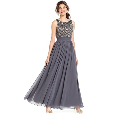 js collections beaded gown js collections sleeveless beaded empire waist gown in gray