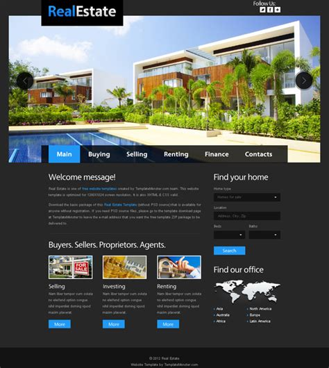 free homepage for website design free website template for real estate with justslider