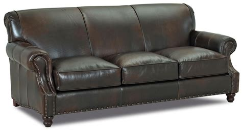 traditional leather sofas fremont traditional leather stationary sofa by klaussner