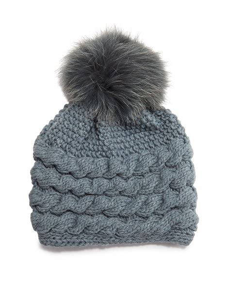 pom pom knit hat inverni cable knit beanie hat w fur pom pom in