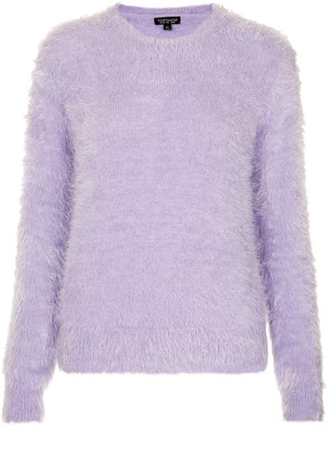 purple knitted jumper topshop knitted fluffy crew jumper in purple lilac lyst