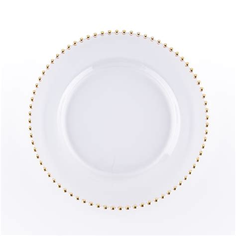 gold beaded chargers gold bead clear charger rental encore events rentals