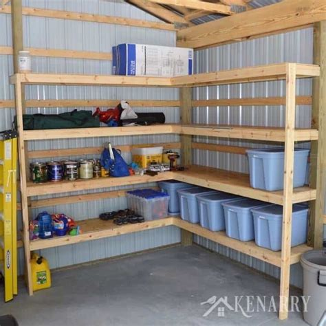 storage shelves for garage diy corner shelves for garage or pole barn storage