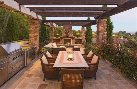 patio kitchen designs outdoor kitchen designs featuring pizza ovens fireplaces