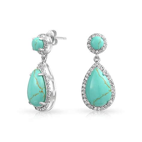 how to make turquoise jewelry teardrop blue turquoise drop earrings cubic zirconia