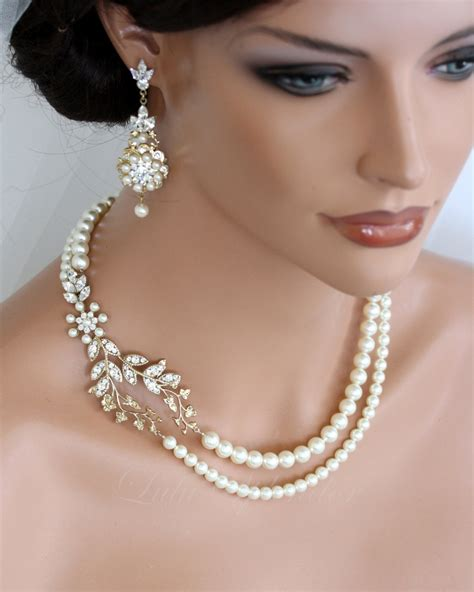 pearl for jewelry wedding pearl necklace vine leaf gold bridal necklace