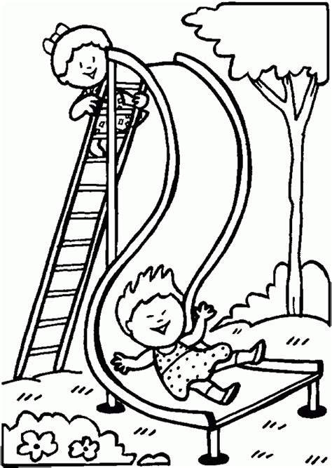 playground slide free printable coloring pages