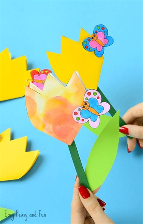 paper craft for flowers paper tulip flower craft with printable template easy