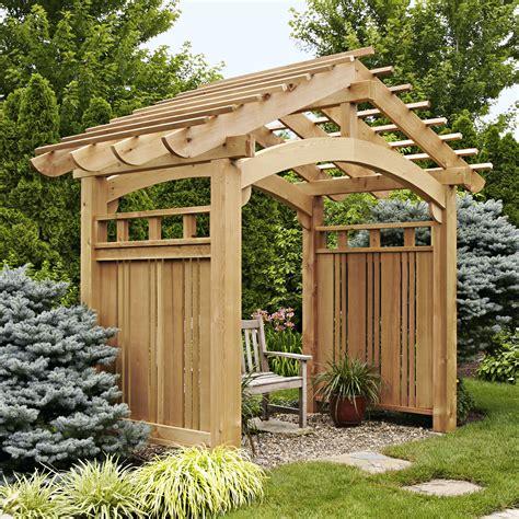 garden arbor woodworking plans arching garden arbor woodworking plan from wood magazine