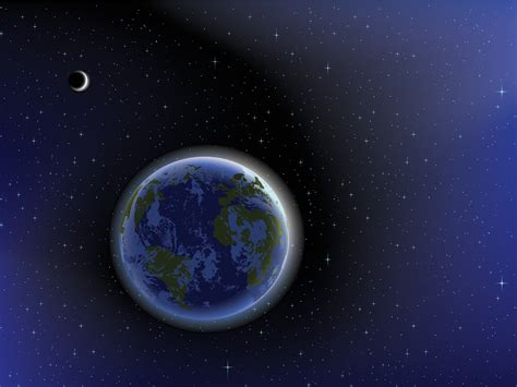 the earth on the space powerpoint templates black blue