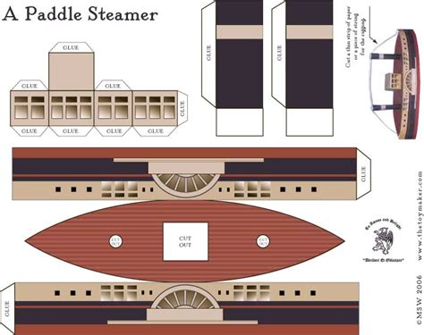 boat paper craft a paddle steamer