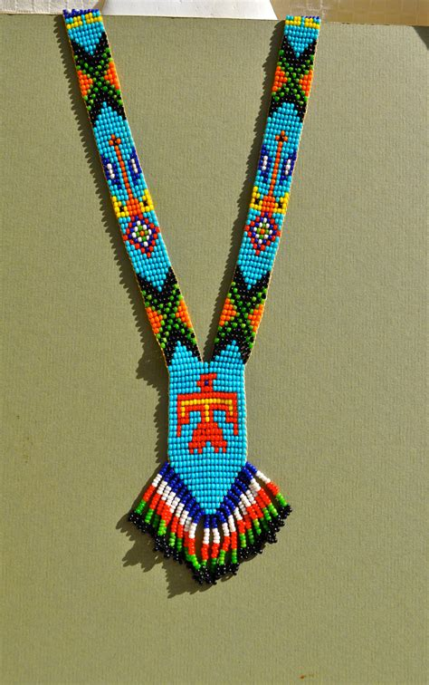 indian beading vintage american bead necklace with fringe bright