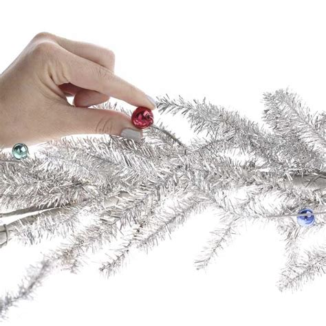 silver bead garland silver tinsel pine and bead ornament garland