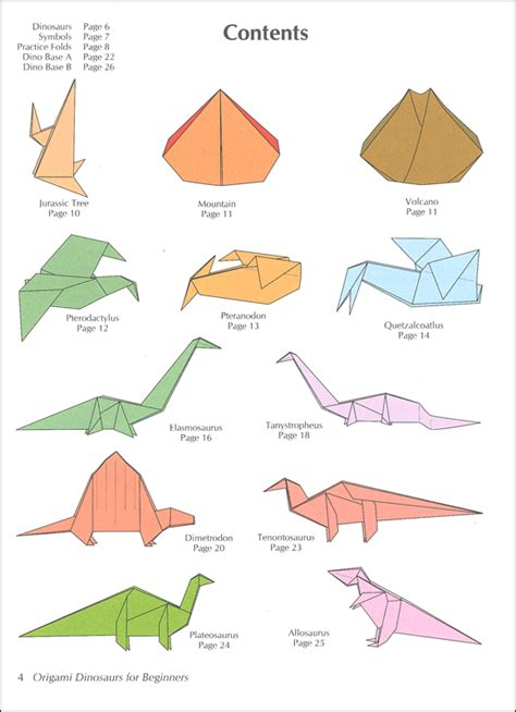 origami of dinosaur origami dinosaurs for beginners 026101 details rainbow