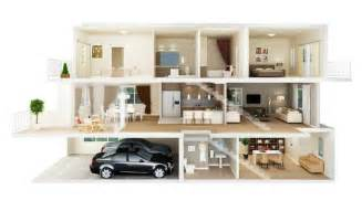House Plans With Separate Apartment 3d pictures 4bedrooms office sitting room and dinning room