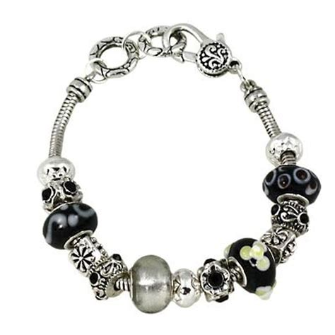 Black Murano Glass Bead Sliding Bracelet Pandora