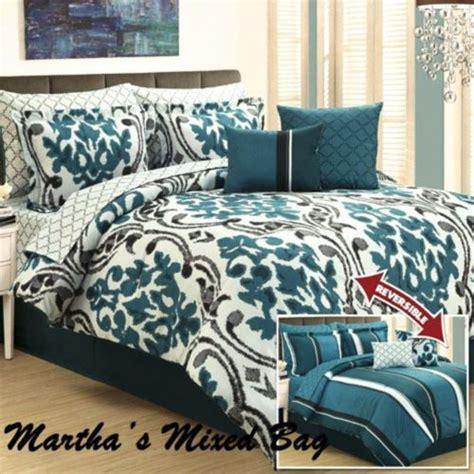 teal king size comforter sets damask arabesque stripes teal black gray king size