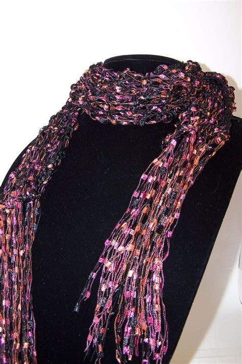 ladder yarn knitting patterns ladder yarn scarf knit scarf fashion scarf black orange
