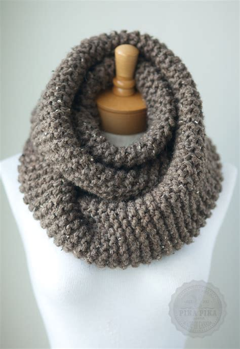 knitted chunky infinity scarf pattern chunky knit scarf in taupe tweed knit infinity by