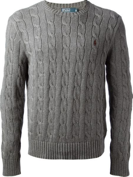 polo cable knit sweater polo ralph cable knit sweater in gray for grey