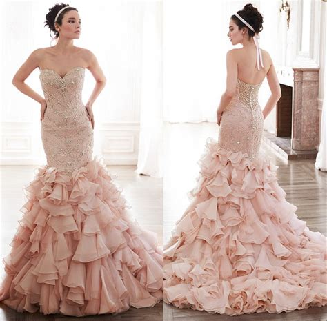 fully beaded bodice wedding dress fully beaded sweetheart bodice corset organza ruffles pink