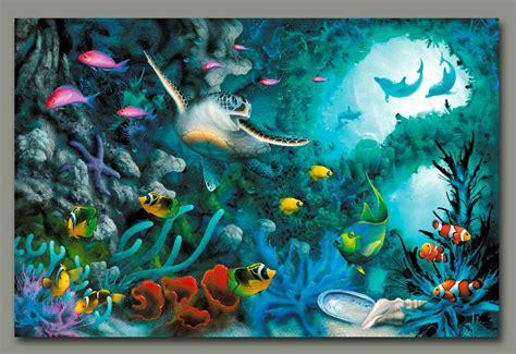 acrylic painting underwater sea turtle painting by artist david miller