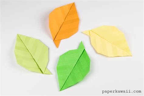 origami in simple origami leaf tutorial paper