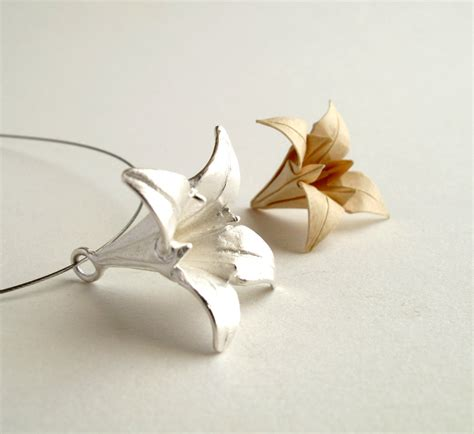 origami necklace and charms origami iris pendant silver iris pendant origami iris jewelry