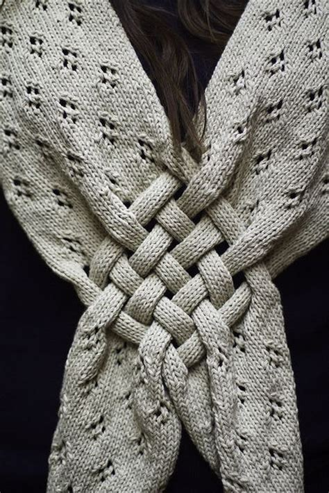 knit or woven knit scarf w woven quot celtic knot quot detail handwork