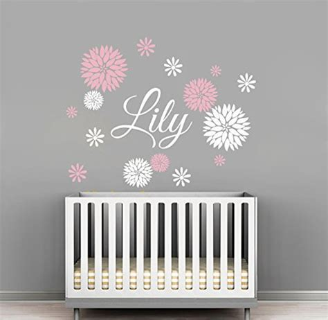 nursery wall name decals custom flowers name wall decal room decor