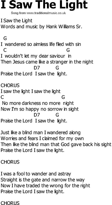 songs with light country song lyrics with chords i saw the light