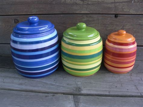 colorful kitchen canisters custom set of 3 kitchen canisters your colors and