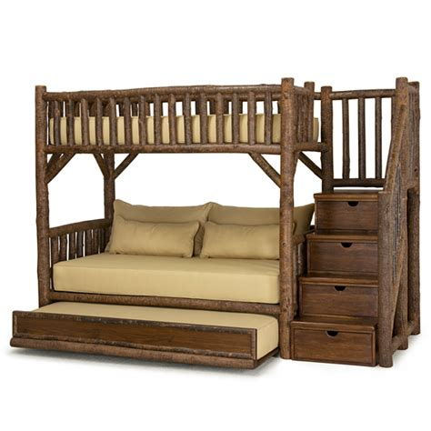 bunk beds with stairs and trundle rustic bunk bed with trundle and stairs 4690l 4692r