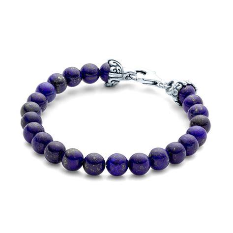 bead bracelet mens elements gemstone bead bracelet 8mm lapiz ss el 004