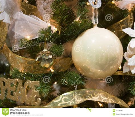 white ornament tree white and gold tree ornaments royalty free stock