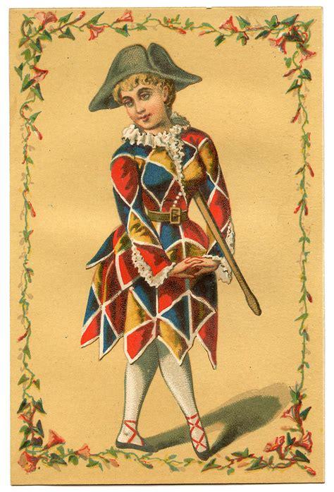 vintage mardi gras vintage image harlequin clown mardi gras the