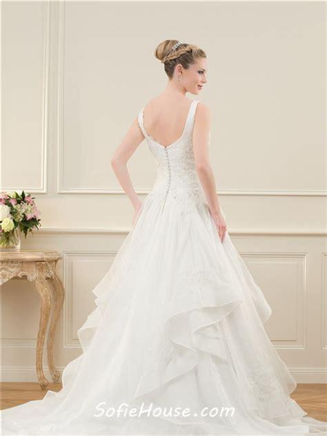 beaded back wedding dress a line v neck open back organza ruffle lace beaded wedding